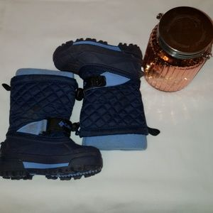 ❄Columbia blue snow boots with velcro and a bungee